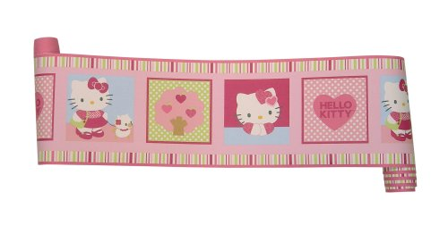 Bedtime Originals Hello Kitty And Puppy Wallpaper Border - Pink front-969568