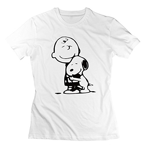 BEVH Women's Snoopy And Charlie Brown Hug T-shirts Design White (Space Jam Costumes)
