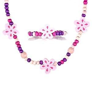 Little Girl Pink Wooden Flower Jewelry Set