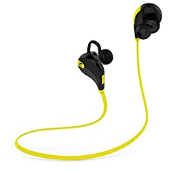 SoundPEATS Bluetooth Earbuds Sport Wireless In Ear Stereo Headphones with Mic (Secure Ear Hooks Design, Bluetooth 4.1, 6 Hours Talk Time, Sweatproof) - Black/Yellow