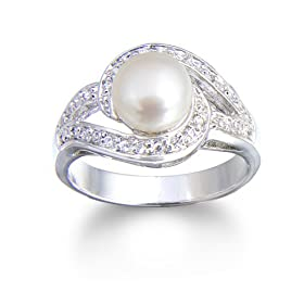 Sterling Silver Freshwater Cultured Pearl &#038; Cubic Zirconia Swirl Ring