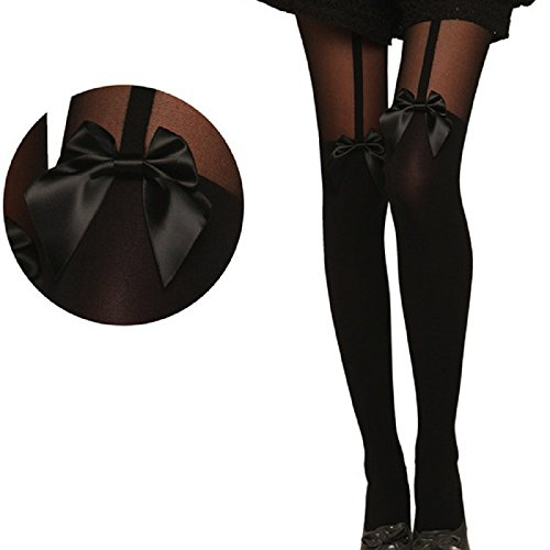 Sharondar Vintage Collant Bow Calze Tatuaggio Mock Bow bretella calze velate