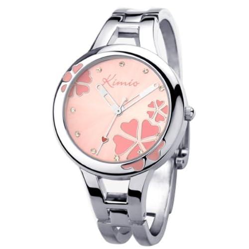 KIMIO Ori-0477K ダイヤル女性アナログ銀色のバングル クラスプ アナログクォーツ腕時計をピンクします
