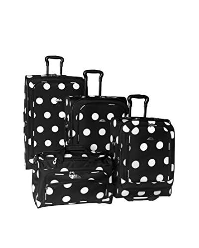 American Flyer Grande Dots 4-Piece Luggage Set, Black/White