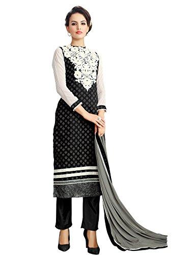 Arzu Fashion Embroidered Chanderi Unstitched Salwar Kameez(Black & White)