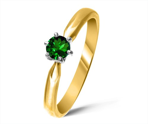 Modern 9 ct Gold Ladies Solitaire Engagement Ring with Chrome Diopside 0.25 Carat