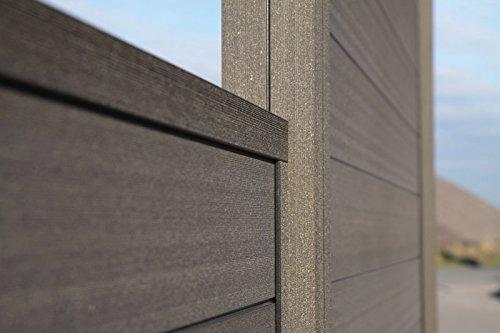 sichtschutz sombra grundelement inkl pfosten schallhemmend tropical brown zum einbetonieren. Black Bedroom Furniture Sets. Home Design Ideas