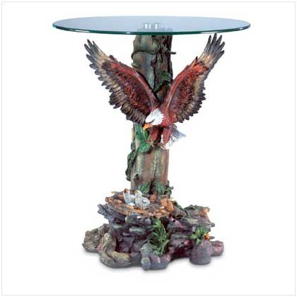 Dramatic Eagle Sculptural Base Glass Top Accent Table