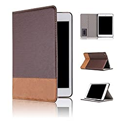 Qinda Luxury Leather Smart Flip Case cover for Apple iPad Mini 1/2/3 [Sleep/Wake] (Dark Brown)