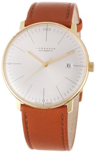 Junghans MAX BILL Automatik GOLD 10 MIC Analog 027/7700.00 - Reloj de caballero automático, correa de piel color marrón
