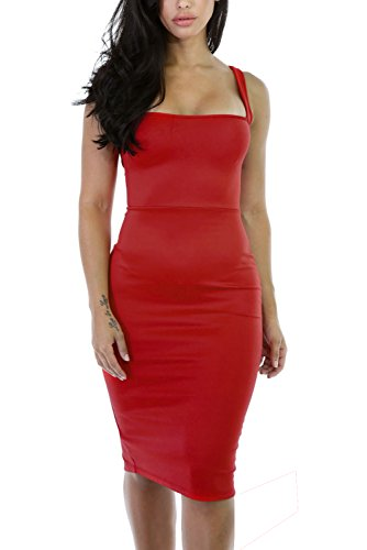 Alvaq Women's Sexy Backless Bodycon Midi Party Evening Dresses Small Red