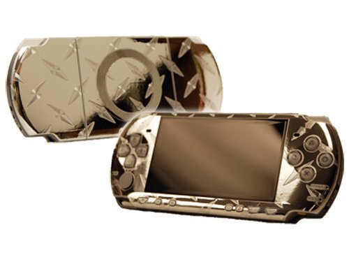 PlayStation Portable 2000 (PSP-Slim) Skin - NEW - SILVER DIAMOND PLATE MIRROR system skins faceplate decal mod