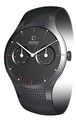 Obaku By Ingersoll Gents Black Dial Stainless Steel Bracelet Watch