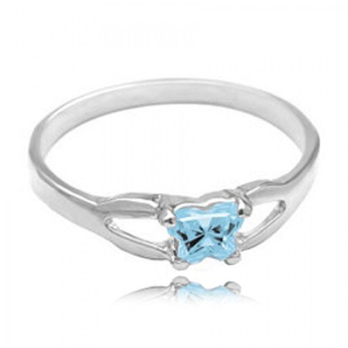 14k White Gold Child'S March Blue Green Cubic