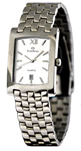 Mens Elegant and Stylish Swiss Made Quartz Analogue Watch by EverSwiss 4508-GSS. Rectangular Steel tone Case, Silver Dial and Stainless Steel Bracelet