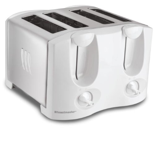 Toastmaster T2040W 4-Slice Toaster with Extra-Wide Auto-Adjusting Slots