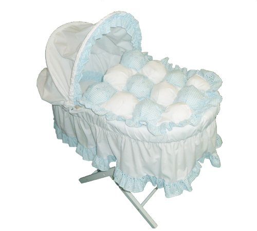 Beautiful Blue Gingham Bubble Moses Basket With Long Skirt & White Wooden Folding Stand