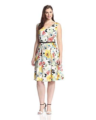 Melissa Masse Plus Women's Floral Print Dress  [White Romantic Flower]