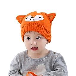 Multifit Cute Fox Toddler Kids Hat Winter Warm Bonnet Cap Children Crochet Knit Beanie Hat(Orange)