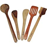 Onlineshoppee Antique Wooden Handmade Serving And Cooking Spoon Kitchen Utensil Set