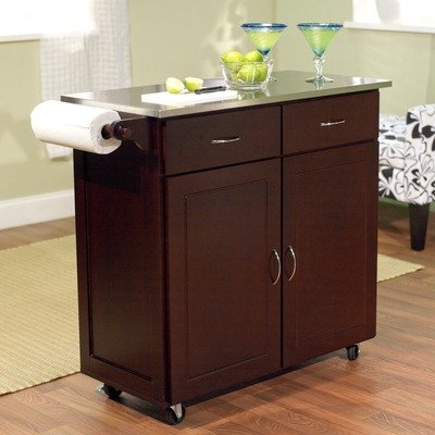 Cheap Large Kitchen Cart with Stainless Steel Top in Espresso (60047ESP)