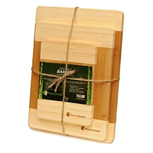 Extra Thick Bamboo Cutting Board Set - Thick Strong Bamboo Wood Cutting Board With Beautiful White Edge by Premium Bamboo