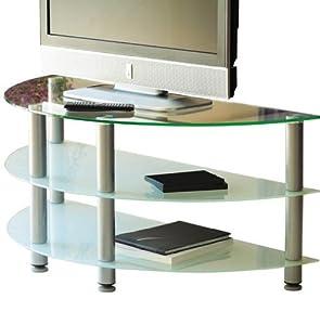 tv rack tv tisch fernsehtisch glas milchglas 115cm. Black Bedroom Furniture Sets. Home Design Ideas
