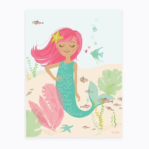 "Sea Urchin Studio Mermaid Art Poster, Pink, 12"" x 16"""