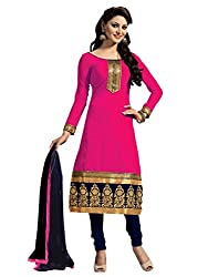Women Icon Dark Pink Embroidried Un Stitched Straight Suit WICARV1001