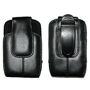Executive Black Vertical Leather Case Pouch with Rotating Belt Clip for RIM Blackberry Curve 8300, 8330, 8310, 8320, 8520 Phone [Accessory Export Packaging]