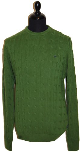 Fynch Hatton Mens Cable Jumper 131-305 Green (X Large)