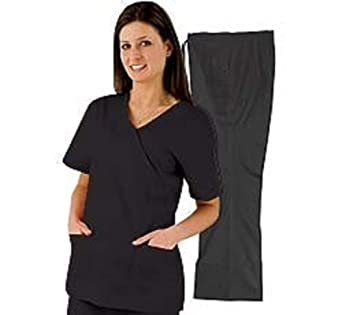 Medical Scrubs - Women's Mock Wrap/Flare Pant Set (Black, X-Small)