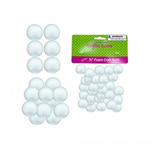 "50 Count Small Foam Craft Balls - 30 pack 3/4"" balls, 12 pack 1"" balls and 8 pack 1 1/2"" balls"