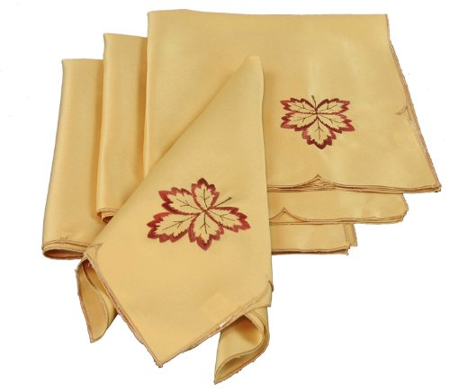 Xia Home Fashions Bountiful Leaf Embroidered Cutwork Harvest Napkins, 19 By 19-Inch, Set Of 4 front-204104