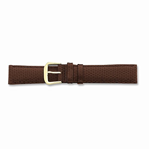 20Mm Brown Lizard Grain Lthr Gold-Tone Buckle Watch Band
