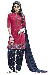 Naaidaakho Pink And Navy Blue Patiyala Dress Material