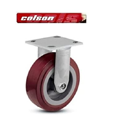 "Colson Rigid Plate Caster with Non-Marking Floor Safe Polyurethane 6"" x 2"" Wheel"