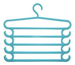 HOME CUBE Pants Hangers Holders For Trousers Towels Clothes Apparel Hangers Five-layer Space Saving with hook Set of 2 - Blue