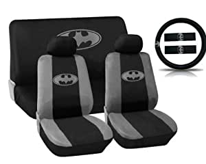 Batman Logo Auto Interior Kit 11 Pieces Seat Covers With Steering Wheel Shoulder