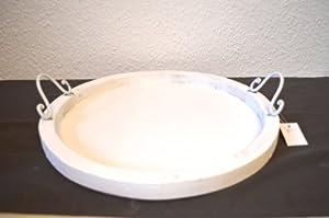 tablett rund holz wei holztablett landhausstil shabby dekotablett antik ca 35cm durchmesser. Black Bedroom Furniture Sets. Home Design Ideas
