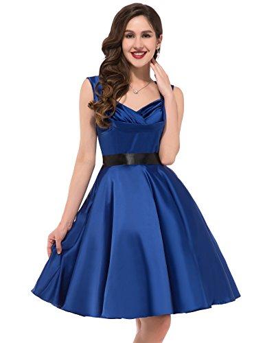 Sexy V-Neck Vintage Rockabilly Dresses 1950's Dark Blue Size XL CL6030-3