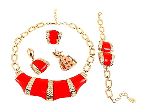 "Red Square Bead Goldtone Textured Necklace Bracelet Ring and Earrings Set, 16+2"" Ext."
