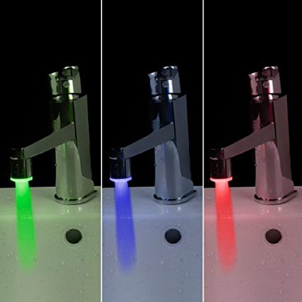 Docooler Mini Glow LED Water Stream Faucet Tap Temperature Sensor 3 Color (Water Faucet Led Light compare prices)