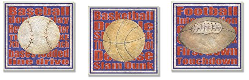 The Kids Room by Stupell Baseball, Basketball, Football 3-Pc. Red and Blue Square Wall Plaque Set
