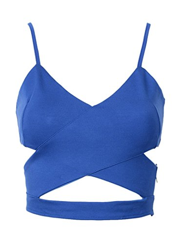 Choies Women's Cut Out Cross Spaghetti Strap Cropped Vest (Blue Cropped Tank compare prices)