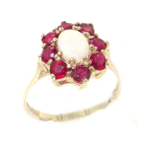 Luxury Ladies Solid White Gold Natural Opal & Ruby Cluster Ring - Size 8.75 - Finger Sizes 5 to 12 Available
