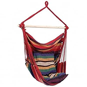 SueSport New Hanging Rope Chair - Swing Hanging Hammock Chair - Porch Swing Seat - With Two Cushions - Max.265 Lbs, Red