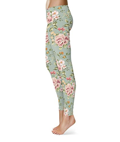 Pastel Floral Wallpaper Fleece Leggings - M XS-3XL