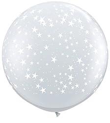 36 Inch Stars Around Diamond Clear Latex Balloons