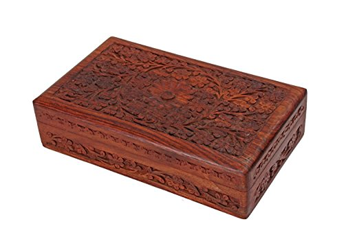 Rakhi Gift for Sister Intricate Wooden Jewelry Box Organizer - 10 x 6